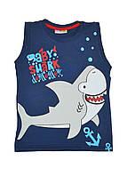 Майка мальчикам летняя с рисунком акула синий