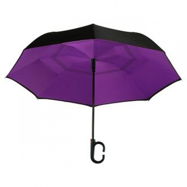 Зонт зворотного складання Up-Brella чорний з фіолетовим SKL11-237998