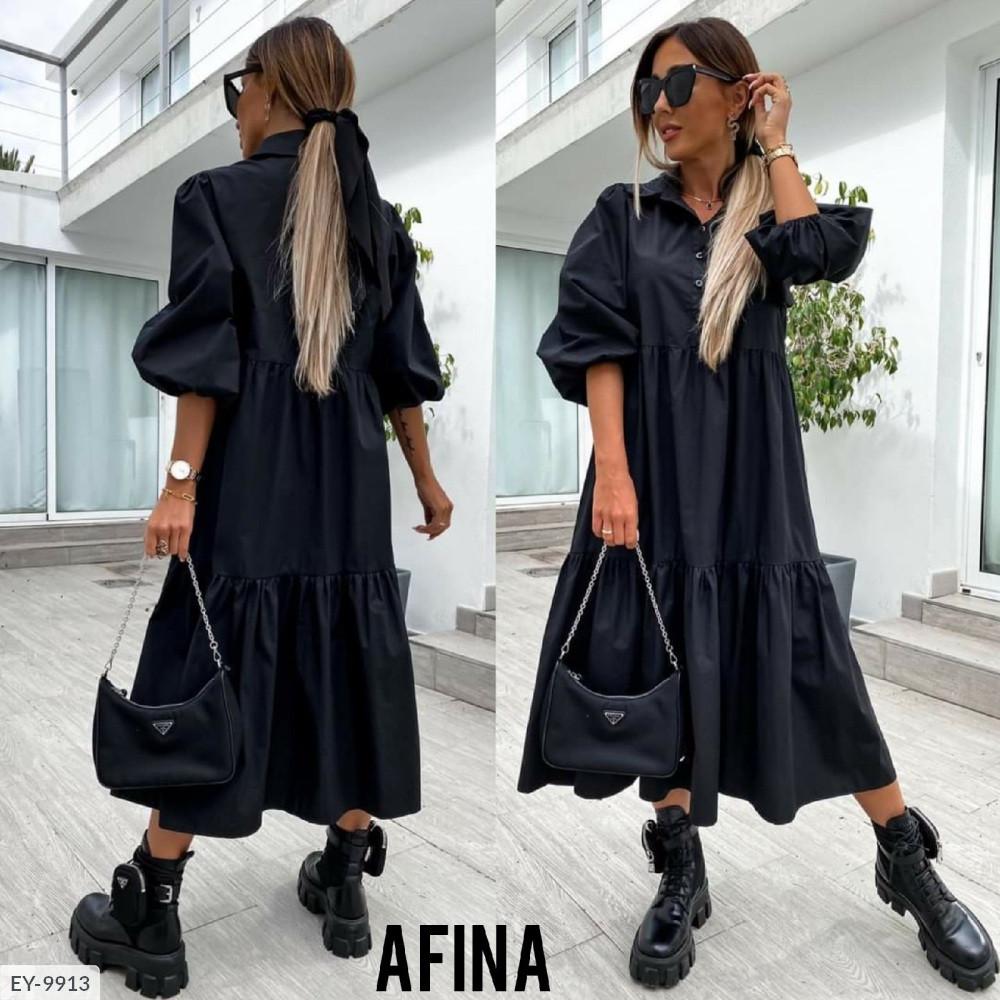 Женское котоновое платье черное миди SKL11-289440