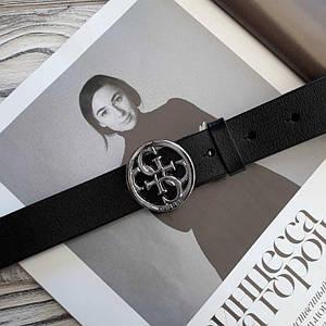 Черный женский кожаный ремень Гесс реплика с серебристой пряжкой