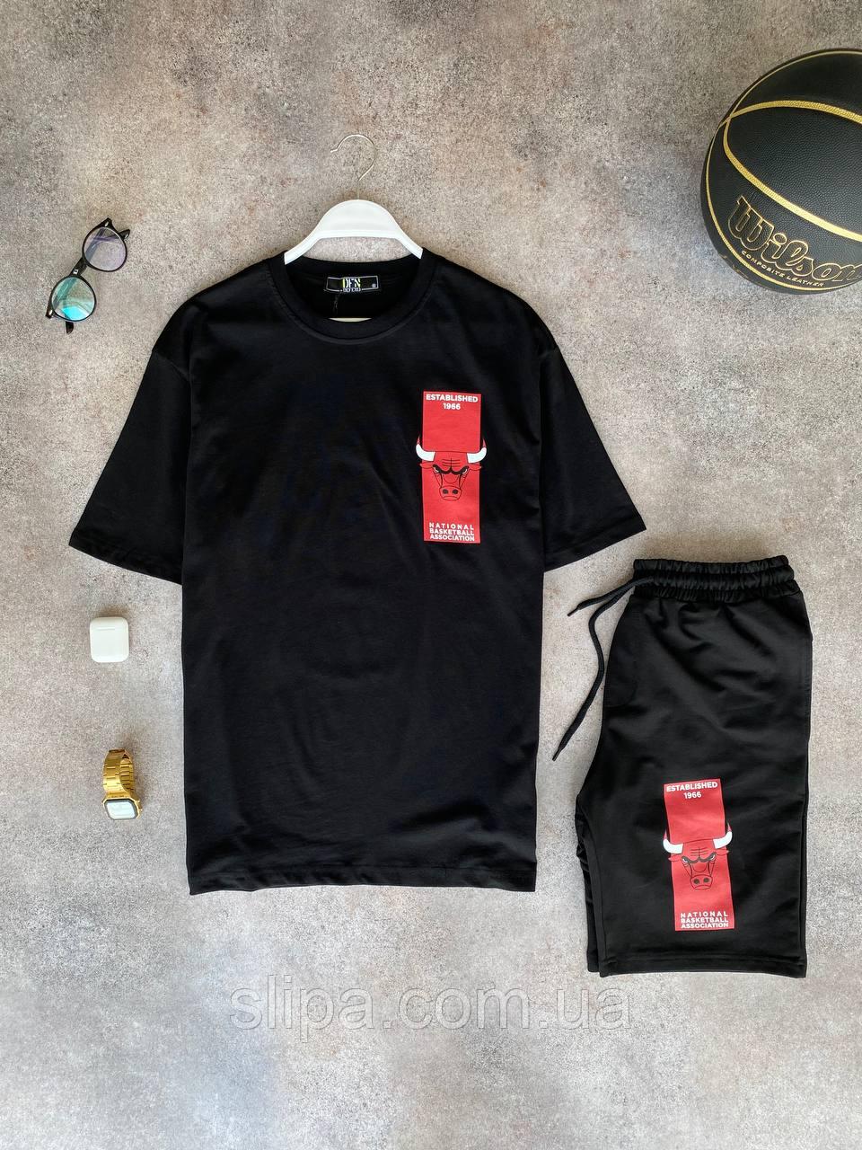 Чёрный летний оверсайз комплект DFN Bulls NBA футболка + шорты | Турция | 100% хлопок