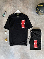 Чорний річний оверсайз комплект DFN Bulls NBA футболка + шорти | Туреччина | 100% бавовна, фото 1