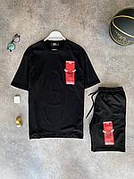 Чёрный летний оверсайз комплект DFN Bulls NBA футболка + шорты | Турция | 100% хлопок, фото 1