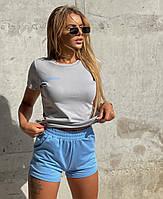 Модный летний трикотажный костюм с короткими шортами и футболкой, фото 1