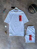 Белый летний оверсайз комплект DFN Bulls NBA футболка + шорты   Турция   100% хлопок, фото 1
