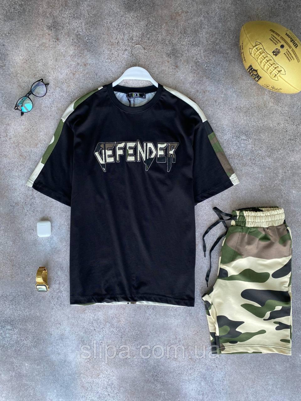 Камуфляжный светлый летний оверсайз комплект DFN DEFENDER футболка + шорты | Турция | 100% хлопок