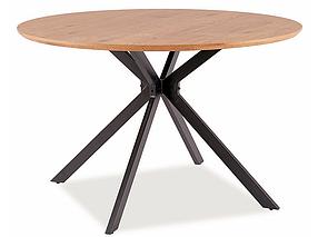 Стол обеденный Aster каркас металл Черный, столешница МДФ/Шпон Дуб Ø 120 (Signal TM)