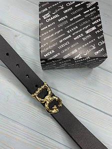 Черный женский кожаный ремень Дольче Габбана реплика с золотой пряжкой