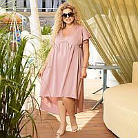 Нарядное летнее платье большого размера с ассиметричным подолом, фото 1