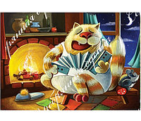 "Схема вышивки бисером с котом ""У камина"""