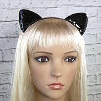 Вушка Кішки з паєтками чорний, фото 1