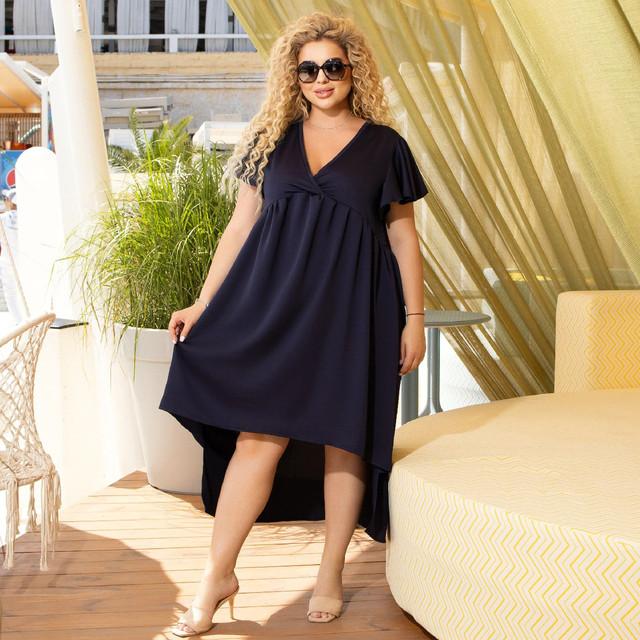 Нарядное летнее платье большого размера с ассиметричным подолом