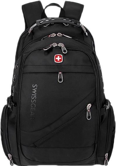 Рюкзак SwissGear 8810 з відділенням для ноутбука 35 л + чохол від дощу, чорний