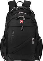 Рюкзак SwissGear 8810 з відділенням для ноутбука 35 л + чохол від дощу, чорний, фото 1