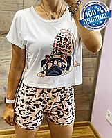 СКИДКА! Пижама Белая Женская Трикотажная с Принтом Животного   Женская Домашняя Одежда