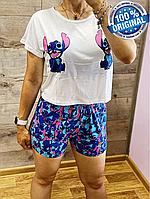 СКИДКА! Пижама Белая Женская Трикотажная с Принтом Стича   Женская Домашняя Одежда