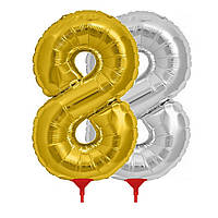 Шарик Цифра (45см) с палочкой золото 8, фото 1