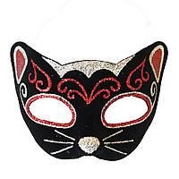 Венеціанська маска Кішка фетр (чорний з червоним), фото 1