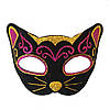 Венеціанська маска Кішка фетр (чорна з малиновим)