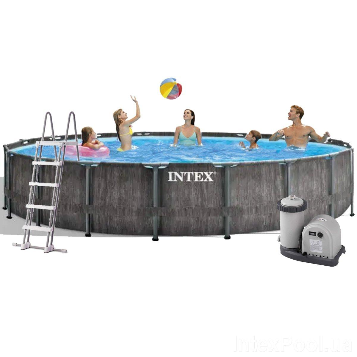 Каркасный бассейн Intex 26744, 549 x 122 см (5 678 л/ч, лестница, тент, подстилка)