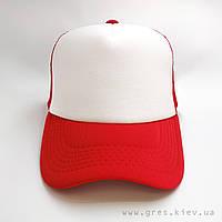 Бейсболка красного цвета с белой панелью, унисекс