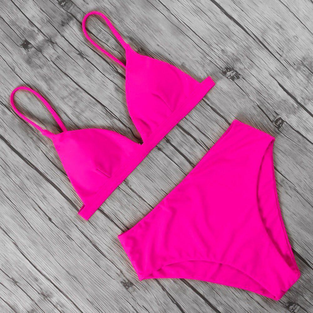 Розовый неоновый купальник треугольник с высокими плавками