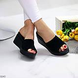 Шльопанці / сабо жіночі чорні на танкетці-платформі 7 см натуральна замша, фото 5