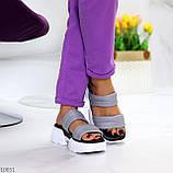 Шльопанці жіночі сірі на платформі 6 см натуральна шкіра, фото 9