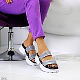 Шльопанці жіночі сірі на платформі 6 см натуральна шкіра, фото 4