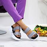 Шльопанці жіночі сірі на платформі 6 см натуральна шкіра, фото 5