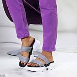 Шльопанці жіночі сірі на платформі 6 см натуральна шкіра, фото 6
