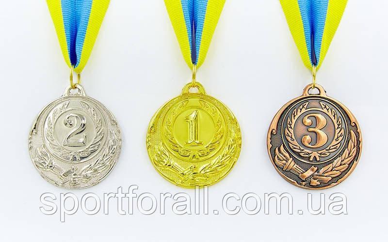 Медаль спортивна зі стрічкою 3шт d-6,5 см ZING C-4329 (золото, срібло, бронза)
