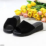 Шлепанцы женские черные натуральная замша, фото 6