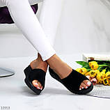 Шлепанцы женские черные натуральная замша, фото 7