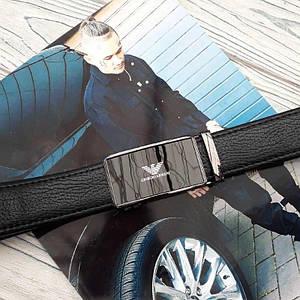 Черный мужской кожаный ремень Джорджио Армани реплика с пряжкой автомат