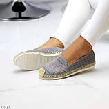 Жіночі мокасини/ еспадрільї сірі текстиль, фото 7