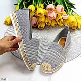 Жіночі мокасини/ еспадрільї сірі текстиль, фото 9