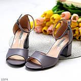 Босоножки женские серые эко кожа на каблуке 6 см, фото 3
