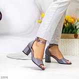 Босоножки женские серые эко кожа на каблуке 6 см, фото 6