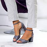 Босоножки женские серые эко кожа на каблуке 6 см, фото 4
