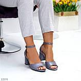 Босоножки женские серые эко кожа на каблуке 6 см, фото 7