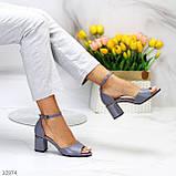 Босоножки женские серые эко кожа на каблуке 6 см, фото 8