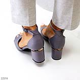 Босоножки женские серые эко кожа на каблуке 6 см, фото 9