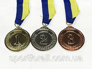 Медаль спортивна зі стрічкою 3шт ZING 5см (золото, срібло, бронза)