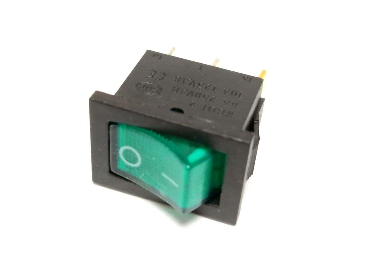 Переключатель KCD-1, ON-OFF 3pin 6A 220V, с подсветкой зеленый