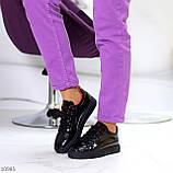 Женские кроссовки черные с красным эко лак, фото 5