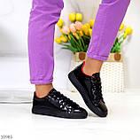 Женские кроссовки черные с красным эко лак, фото 6