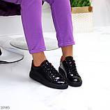 Женские кроссовки черные с красным эко лак, фото 7