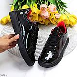 Женские кроссовки черные с красным эко лак, фото 8
