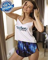 СКИДКА! Пижама Синяя Женская Шелковая с Принтом Космос   Женская Домашняя Одежда